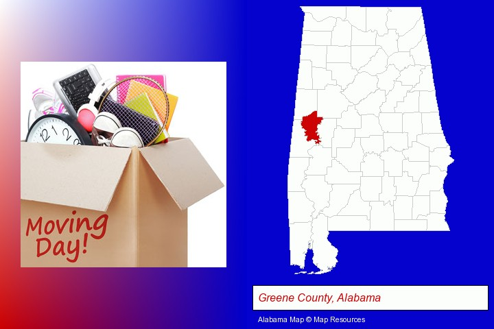 moving day; Greene County, Alabama highlighted in red on a map