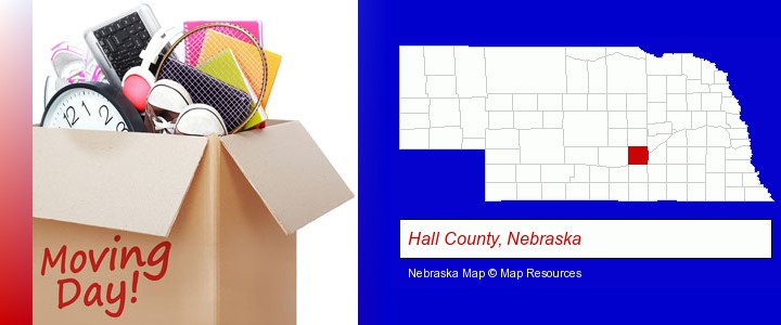 moving day; Hall County, Nebraska highlighted in red on a map