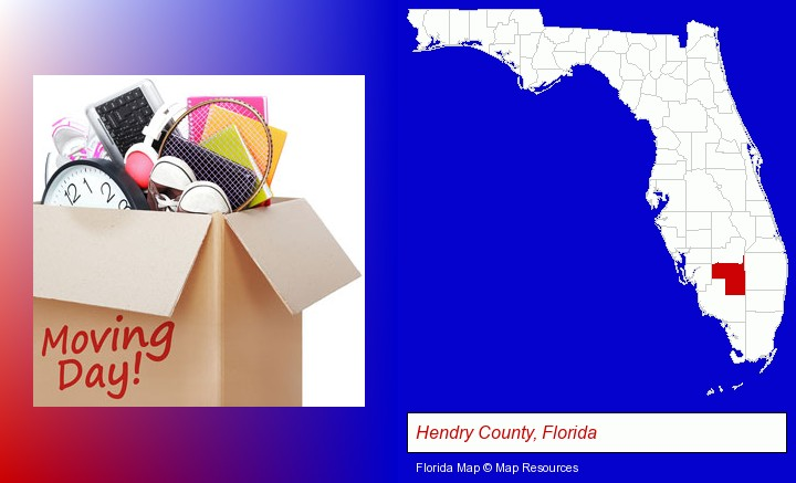 moving day; Hendry County, Florida highlighted in red on a map