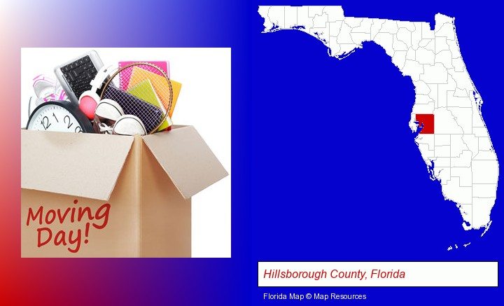 moving day; Hillsborough County, Florida highlighted in red on a map