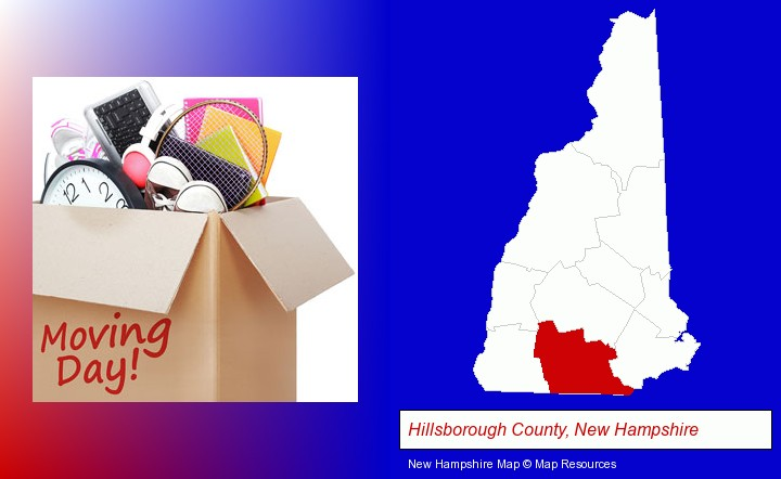 moving day; Hillsborough County, New Hampshire highlighted in red on a map