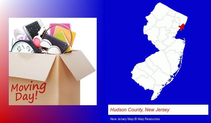 moving day; Hudson County, New Jersey highlighted in red on a map