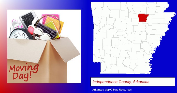 moving day; Independence County, Arkansas highlighted in red on a map