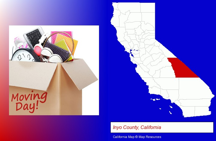 moving day; Inyo County, California highlighted in red on a map
