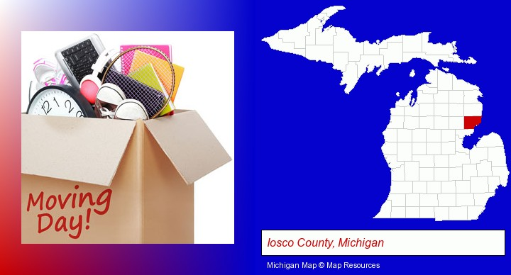 moving day; Iosco County, Michigan highlighted in red on a map