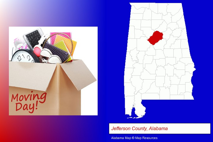 moving day; Jefferson County, Alabama highlighted in red on a map
