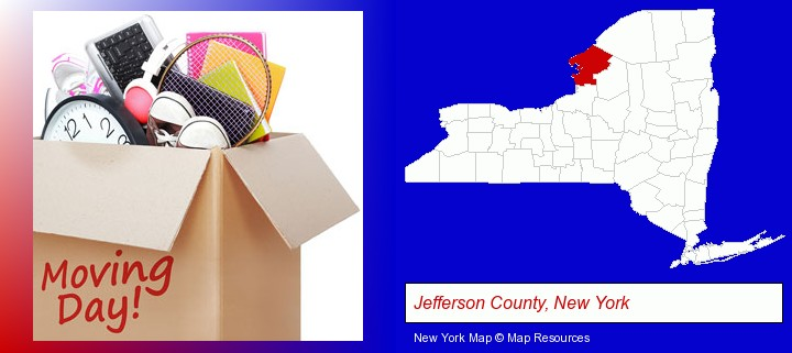 moving day; Jefferson County, New York highlighted in red on a map