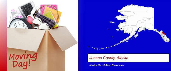 moving day; Juneau County, Alaska highlighted in red on a map