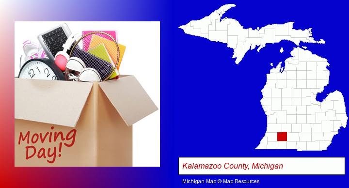 moving day; Kalamazoo County, Michigan highlighted in red on a map