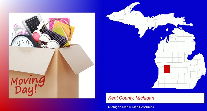 moving day; Kent County, Michigan highlighted in red on a map