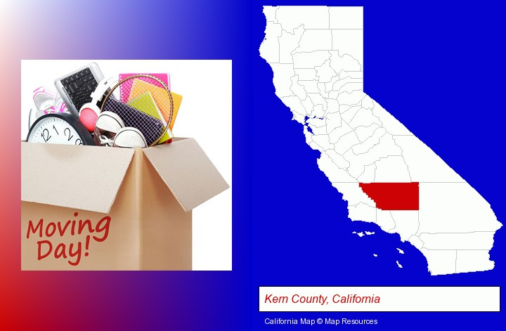 moving day; Kern County, California highlighted in red on a map