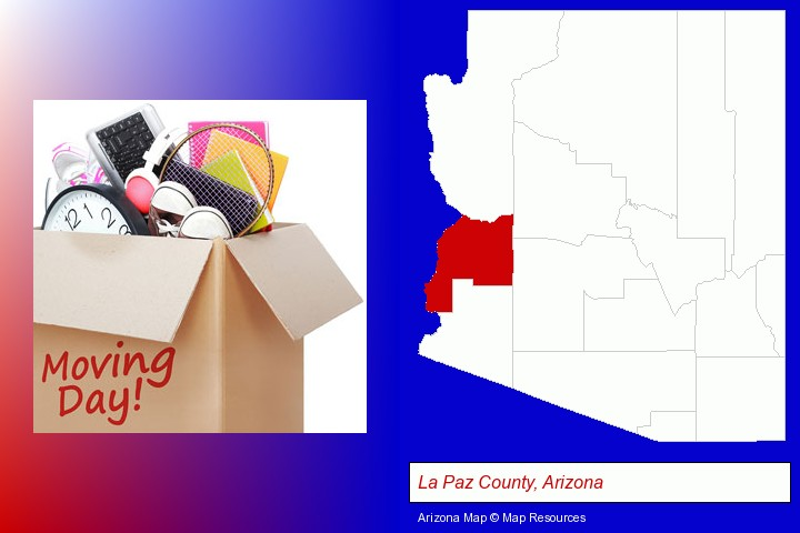 moving day; La Paz County, Arizona highlighted in red on a map