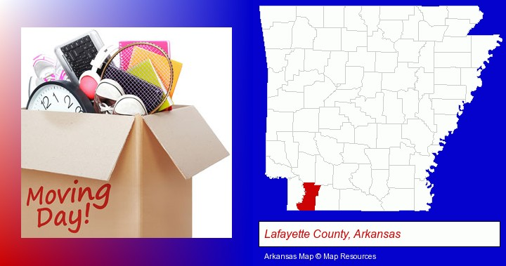 moving day; Lafayette County, Arkansas highlighted in red on a map