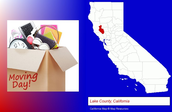 moving day; Lake County, California highlighted in red on a map