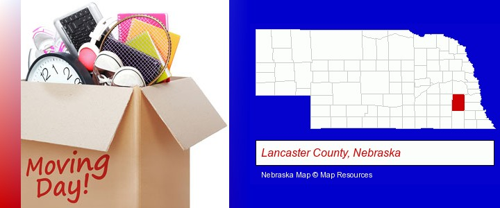 moving day; Lancaster County, Nebraska highlighted in red on a map