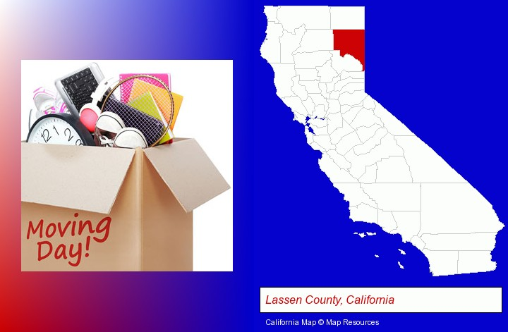 moving day; Lassen County, California highlighted in red on a map