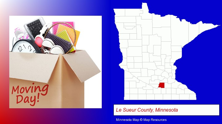 moving day; Le Sueur County, Minnesota highlighted in red on a map