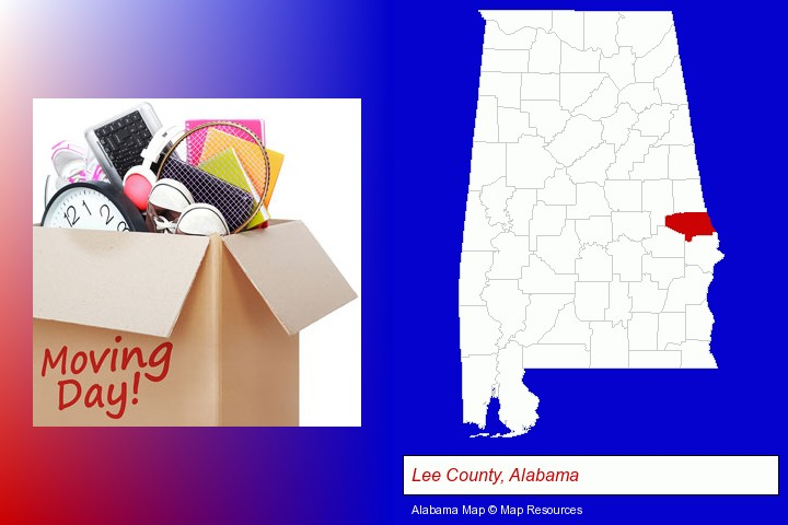 moving day; Lee County, Alabama highlighted in red on a map