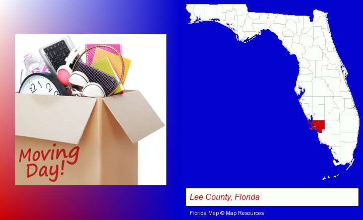 moving day; Lee County, Florida highlighted in red on a map