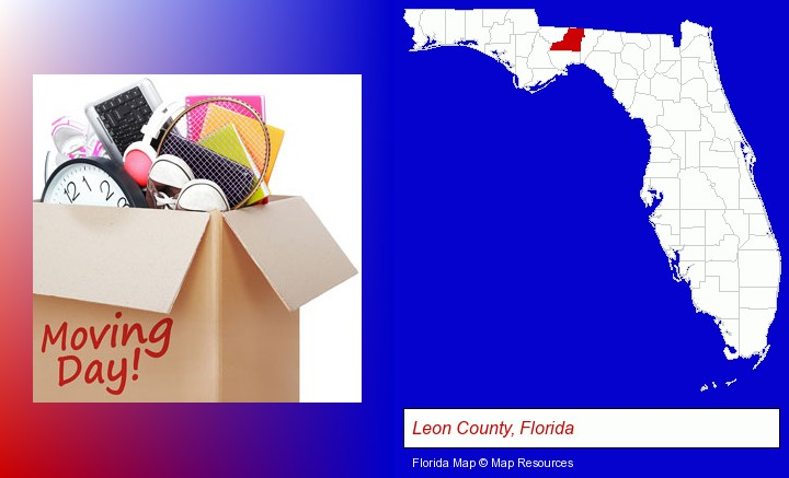 moving day; Leon County, Florida highlighted in red on a map