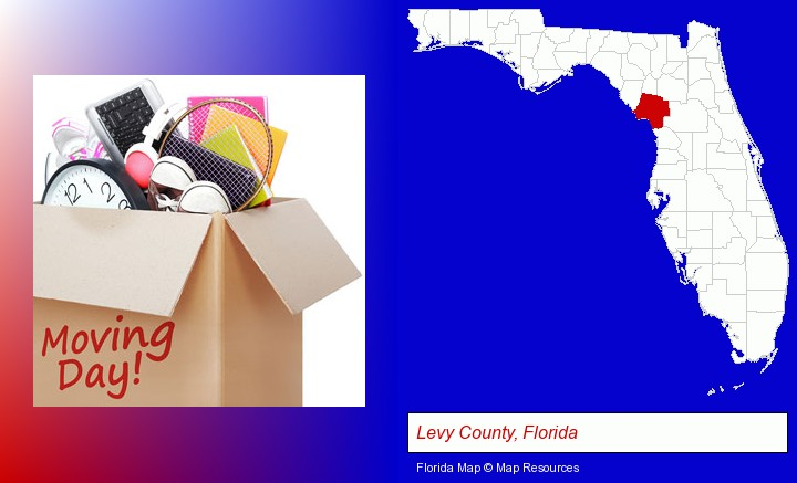 moving day; Levy County, Florida highlighted in red on a map