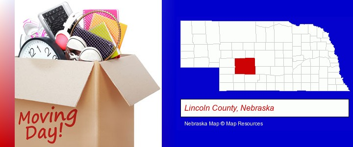 moving day; Lincoln County, Nebraska highlighted in red on a map