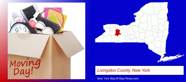 moving day; Livingston County, New York highlighted in red on a map