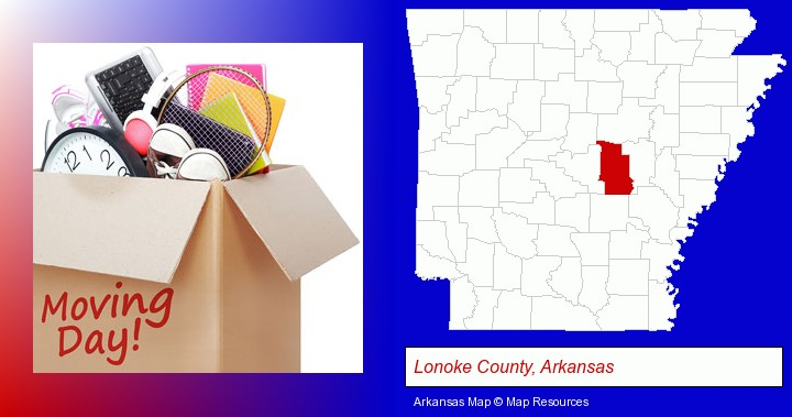 moving day; Lonoke County, Arkansas highlighted in red on a map