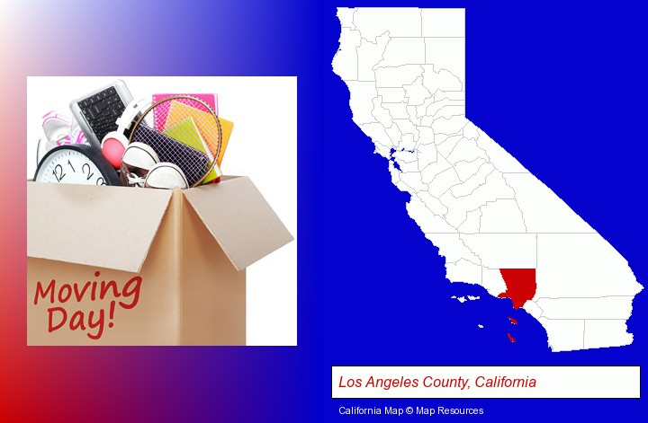 moving day; Los Angeles County, California highlighted in red on a map