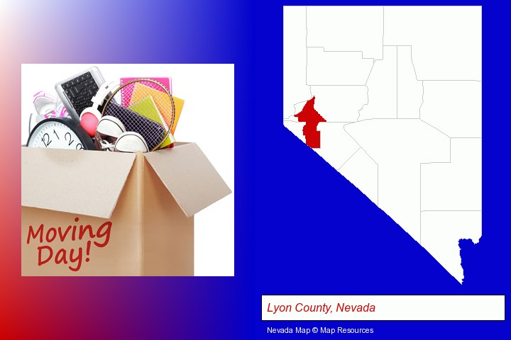 moving day; Lyon County, Nevada highlighted in red on a map
