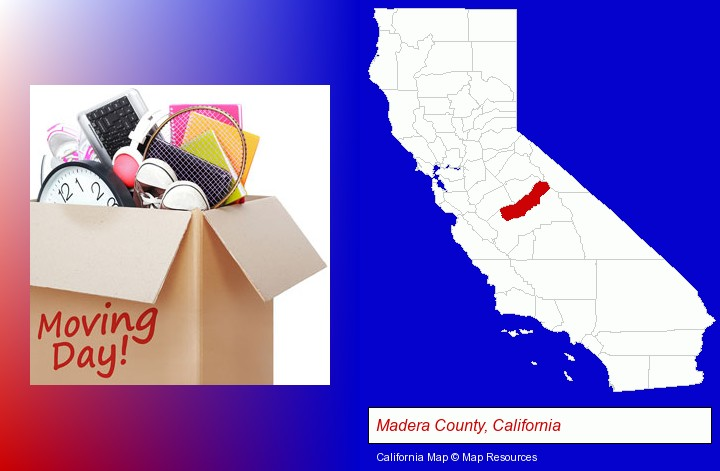 moving day; Madera County, California highlighted in red on a map