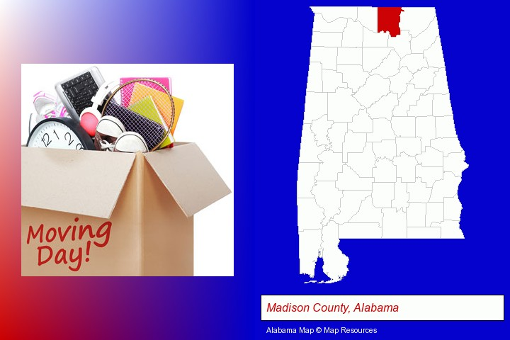 moving day; Madison County, Alabama highlighted in red on a map