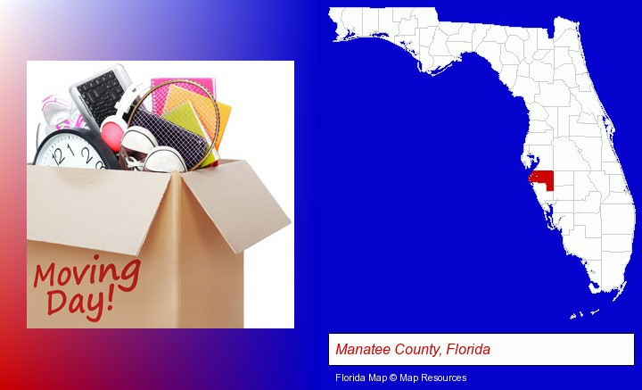 moving day; Manatee County, Florida highlighted in red on a map