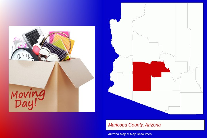 moving day; Maricopa County, Arizona highlighted in red on a map