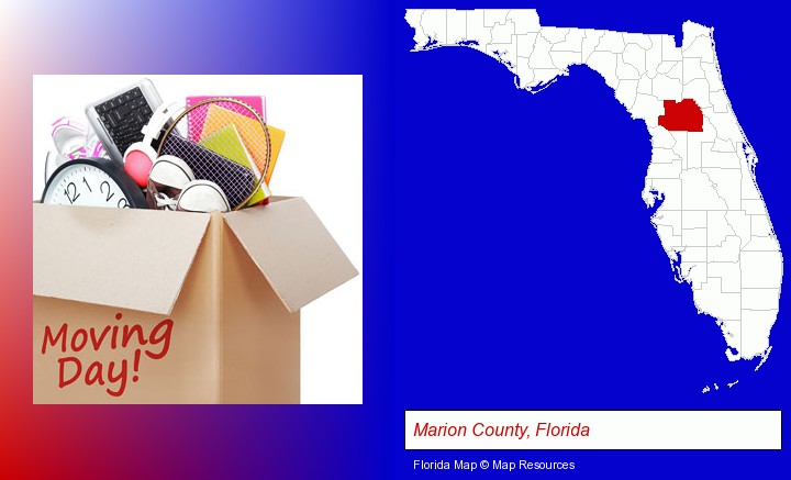 moving day; Marion County, Florida highlighted in red on a map