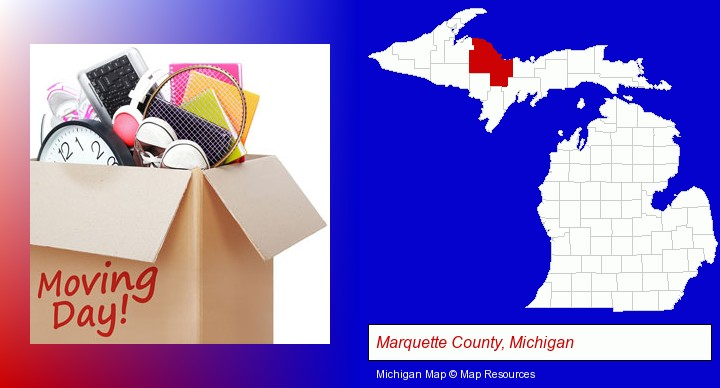 moving day; Marquette County, Michigan highlighted in red on a map
