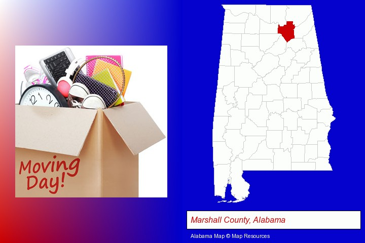 moving day; Marshall County, Alabama highlighted in red on a map
