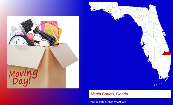 moving day; Martin County, Florida highlighted in red on a map