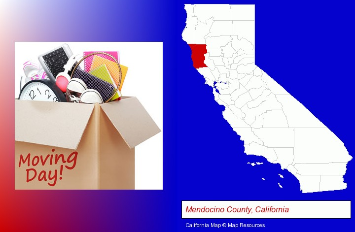moving day; Mendocino County, California highlighted in red on a map