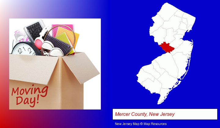 moving day; Mercer County, New Jersey highlighted in red on a map