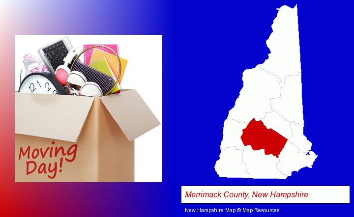moving day; Merrimack County, New Hampshire highlighted in red on a map