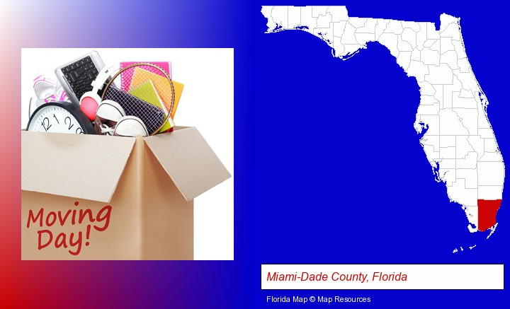 moving day; Miami-Dade County, Florida highlighted in red on a map