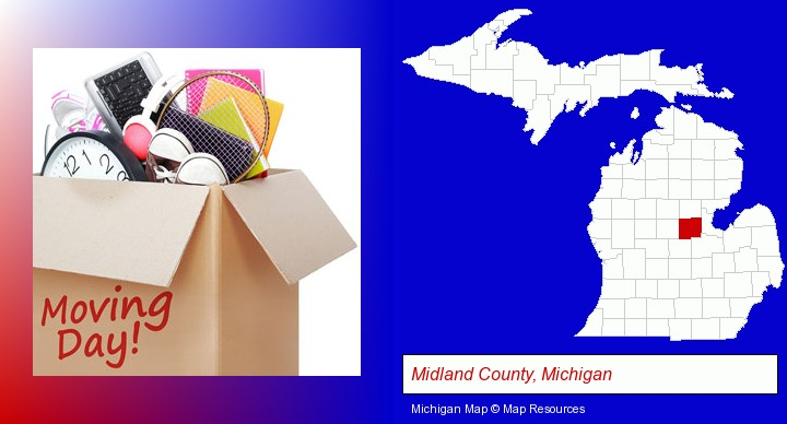 moving day; Midland County, Michigan highlighted in red on a map