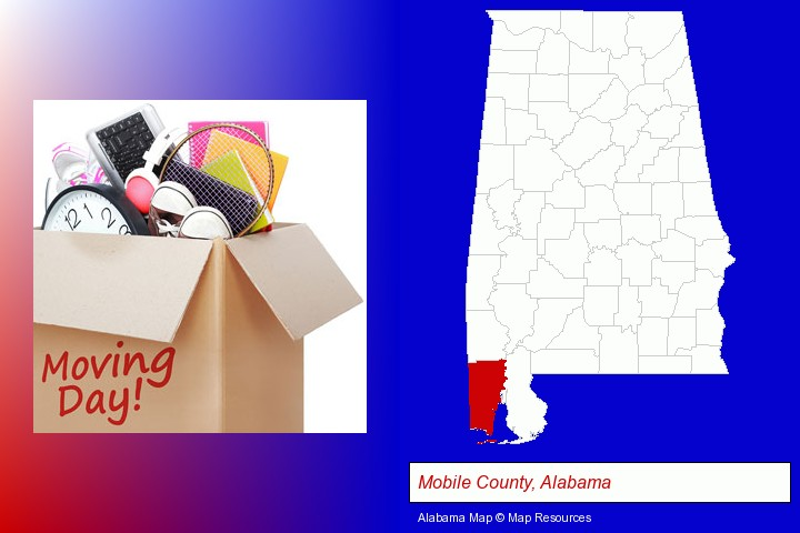 moving day; Mobile County, Alabama highlighted in red on a map