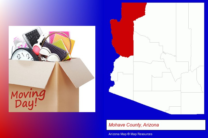 moving day; Mohave County, Arizona highlighted in red on a map