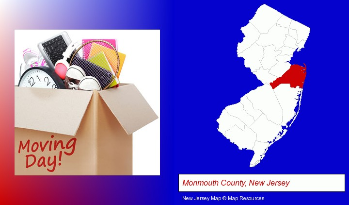 moving day; Monmouth County, New Jersey highlighted in red on a map