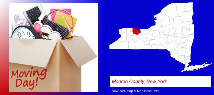 moving day; Monroe County, New York highlighted in red on a map