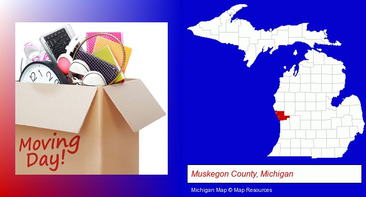 moving day; Muskegon County, Michigan highlighted in red on a map