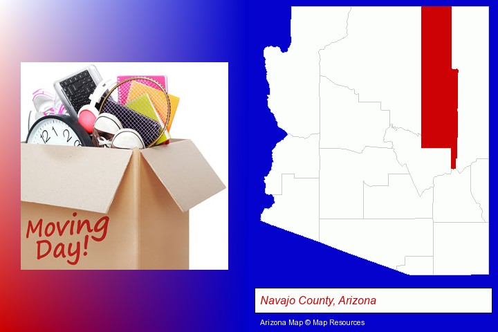 moving day; Navajo County, Arizona highlighted in red on a map