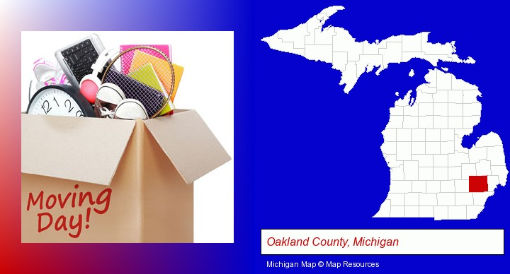 moving day; Oakland County, Michigan highlighted in red on a map
